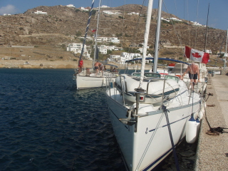 Docked at Mikonos new harbour, a new boat coming