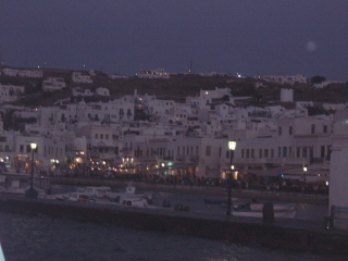 Mikonos in the evening, packed with people