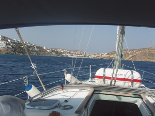 leaving Siros into 30 knots of wind